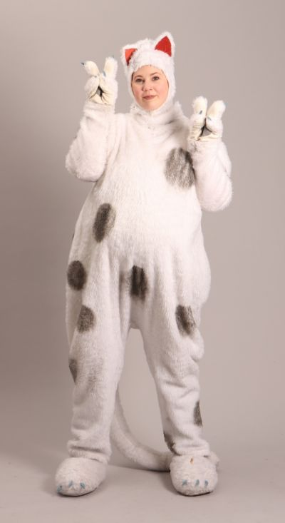 Artistiasu vuokrapuku valkea kissa
